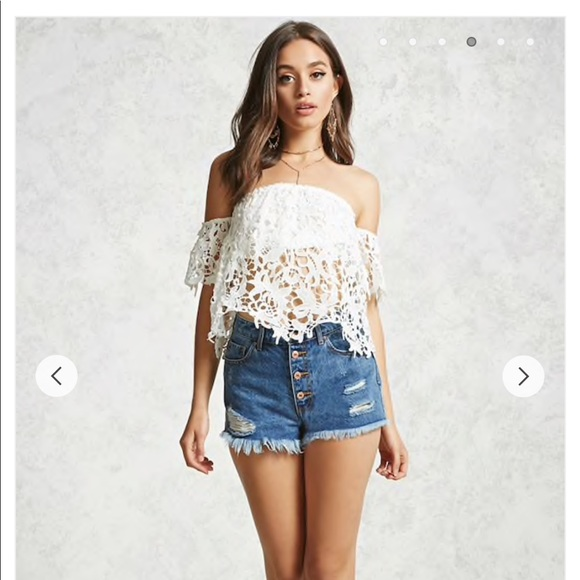 Forever 21 Tops White Crochet Off The Shoulder Crop Top Poshmark